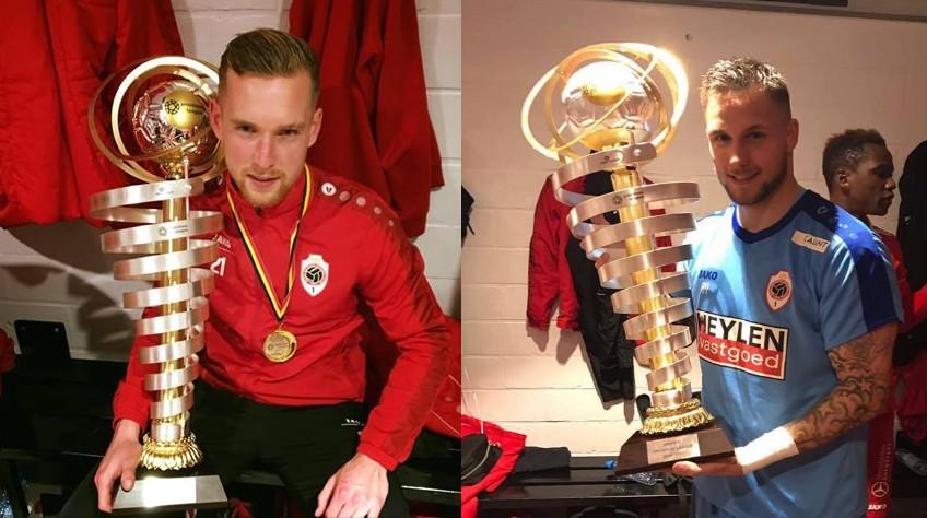 Lallemand et Debaty posent fièrement avec leur trophée de champion. (D.R.)